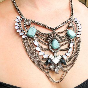 BaubleBar Turquoise & Crystal Chain Bib Necklace